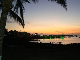 Puerto Baquerizo town at sunset